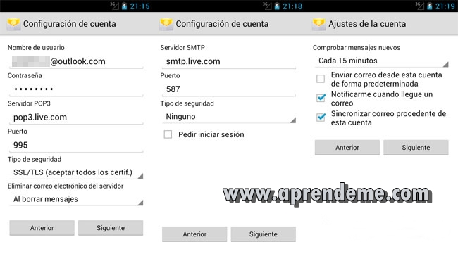 Configuración Outlook.com (POP3)