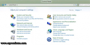 Panel de Control en windows 8