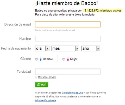 Hazte miembro de badoo