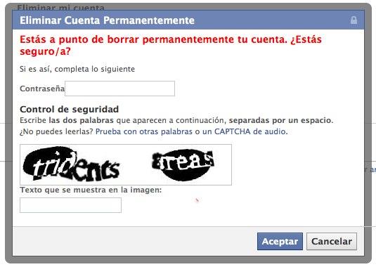 Eliminar cuenta Facebook capcha