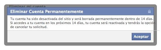 Cuenta Facebook Eliminada