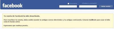 Cuenta Desactivada Facebook
