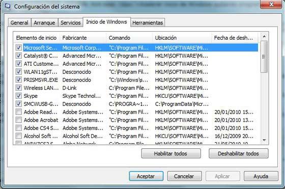 Configuracion del sistema Msconfig